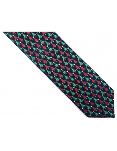 Ciemnogranatowy krawat w choinki D241