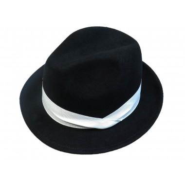 Czarny kapelusz męski z białym paskiem G7