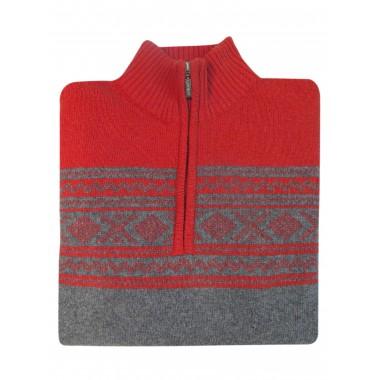 Ciepły sweter męski - półgolf rozpinany na zamek SW46