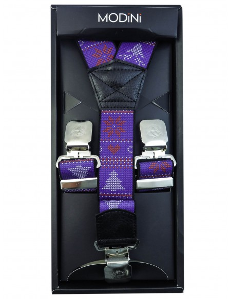 Fioletowe szelki w świąteczny wzór SZ77