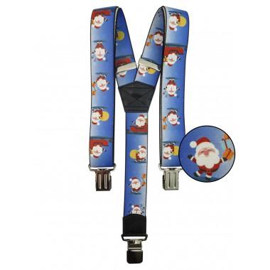 Niebieskie szelki w świąteczny wzór - Mikołaje SZ70