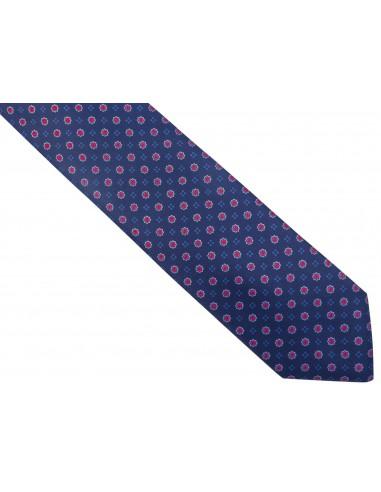 Granatowy krawat męski w czerwone kwiaty D245