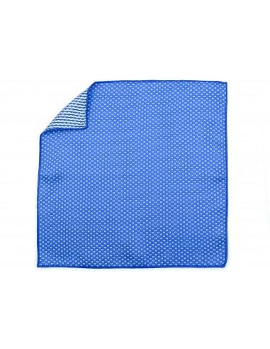 Niebieska poszetka w drobne białe prostokąty E205