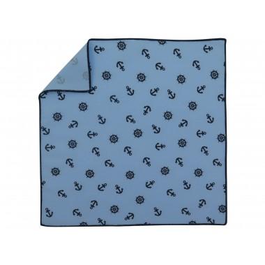 Błękitna poszetka w marynistyczny wzór E207