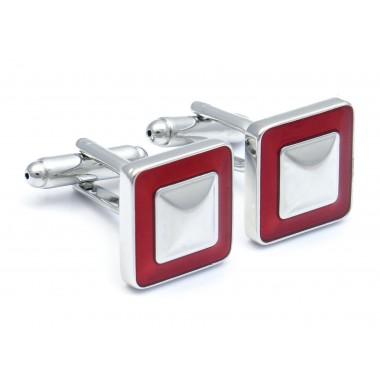 Kwadratowe srebrno-czerwone spinki do mankietów - U185