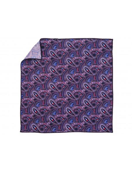 Granatowa poszetka we wzór paisley E208