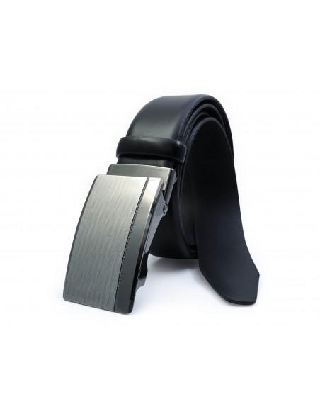 Czarny męski pasek - automatyczna klamra KMG29