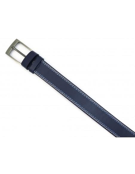 Granatowy pasek męski do jeansów z białym i błękitnym przeszyciem KMG28