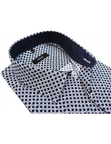 Biała koszula w granatowy wzór - grochy 755