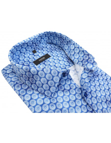 Niebieska cieniowana koszula w kwiaty 571