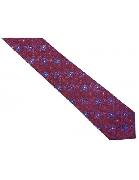 Bordowy krawat męski w kwiaty C4