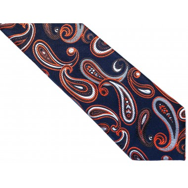Granatowy krawat męski w pomarańczowy paisley C14