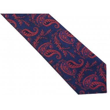 Granatowy krawat męski w paisley C20