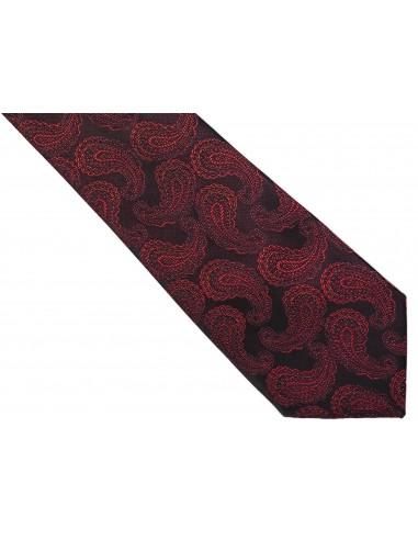 Bordowy krawat męski w paisley C21