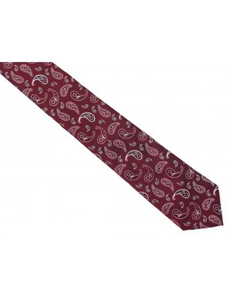 Bordowy krawat męski w paisley C22