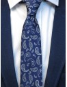 Granatowy krawat męski w paisley C23
