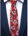 Czerwony krawat męski w kwiaty C2