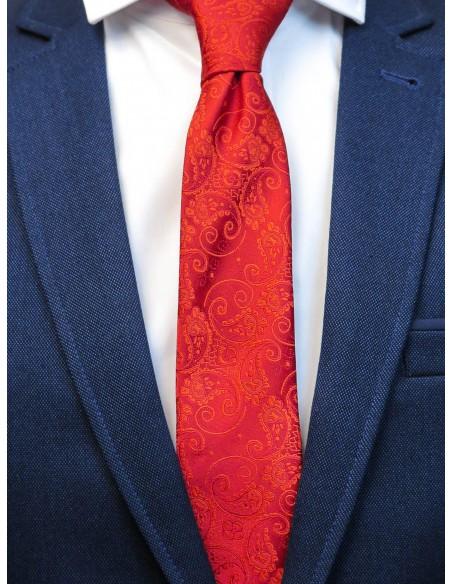 Czerwony krawat męski w paisley C24