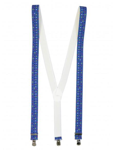 Niebieskie szelki w kolorowe kropki unisex X29