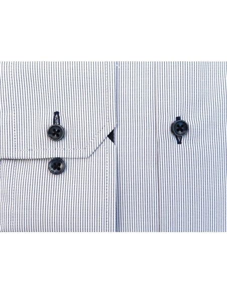 Biała koszula męska w delikatne granatowe prążki 153 NEW
