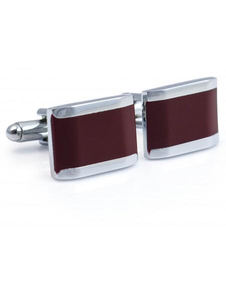 Bordowo-srebrne spinki do mankietów N85