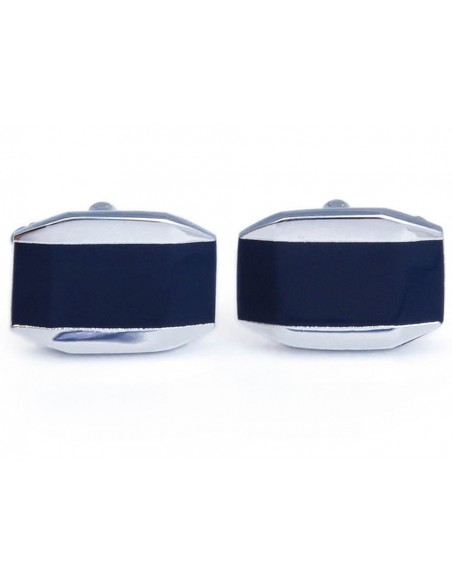 Granatowo-srebrne spinki do mankietów N89