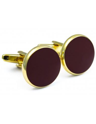 Złote spinki smokingowe z bordowym oczkiem N94