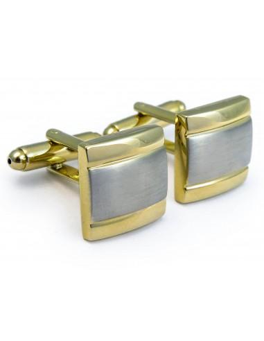 Złoto-srebrne kwadratowe spinki do mankietów N95