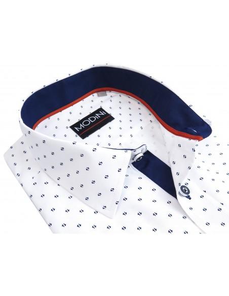 Biała koszula męska z krótkim rękawem z granatowym wzorem MK6