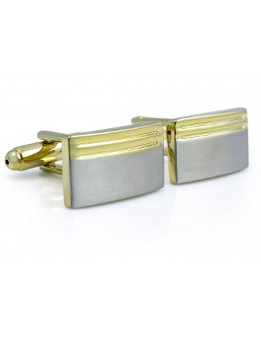 Prostokątne srebrno-złote spinki do mankietów N99