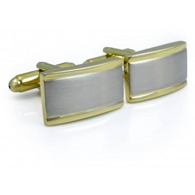 Prostokątne srebrno-złote spinki do mankietów N98