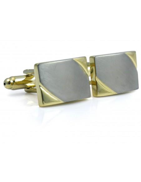 Srebrne spinki do mankietów ze złotymi narożnikami N97