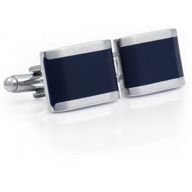 Granatowo-srebrne spinki do mankietów N106