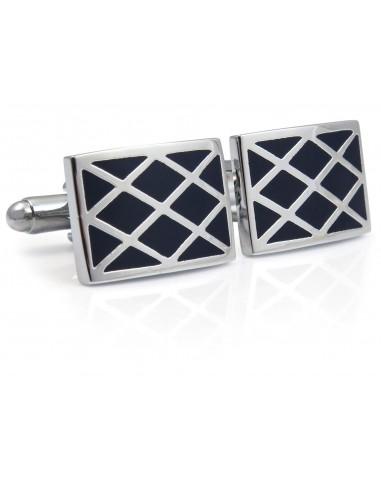 Granatowo-srebrne spinki do mankietów - kratka N107