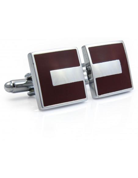 Kwadratowe srebrno-bordowe spinki do mankietów N110