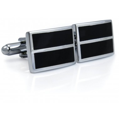 Czarno-srebrne spinki do mankietów N111