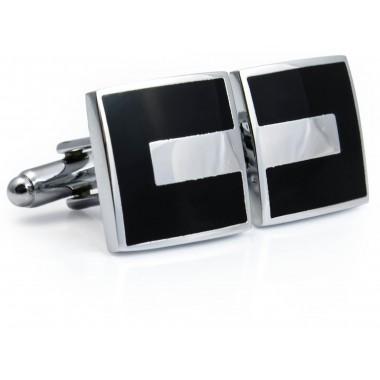 Kwadratowe czarno-srebrne spinki do mankietów N112