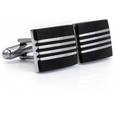 Czarne spinki do mankietów z czterema paskami N113