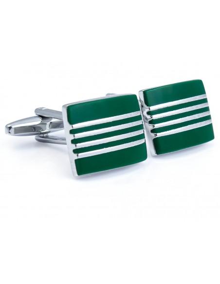 Zielono-srebrne spinki do mankietów z czterema paskami N116