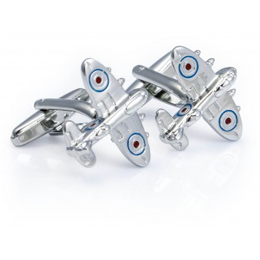 Srebrne spinki do mankietów - samoloty N119