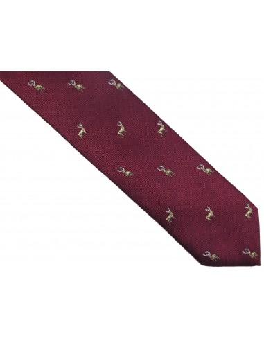 Bordowy krawat męski w jelenie D247