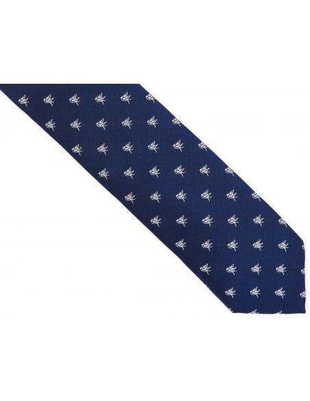 Granatowy krawat męski w ptaszki D252