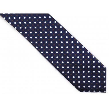 Granatowy krawat męski w kropki D253