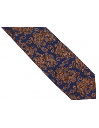 Granatowy krawat męski w pomarańczowy paisley D254