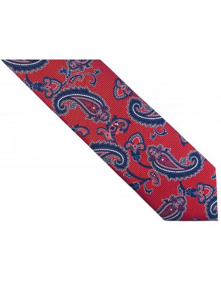 Czerwony krawat męski w paisley D255