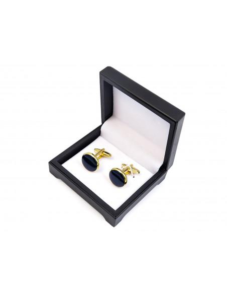 Spinki smokingowe - złote z granatowym oczkiem H82