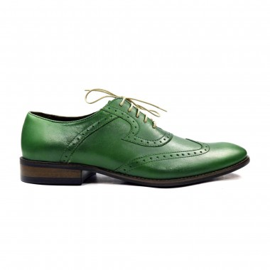 Zielone męskie buty wizytowe - brogsy T27S