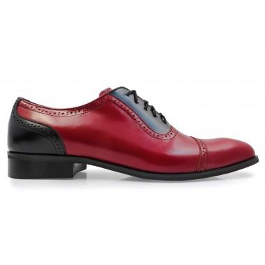 Czerwono-czarne obuwie męskie - spektatory, caponkiT115