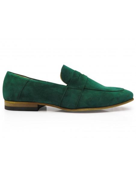 Ciemnozielone wsuwane buty męskie - loafers T116