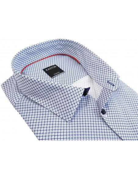 Biało-granatowa koszula z krótkim rękawem we wzór K70